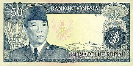 uang 50 rupiah soekarno 1965 depan