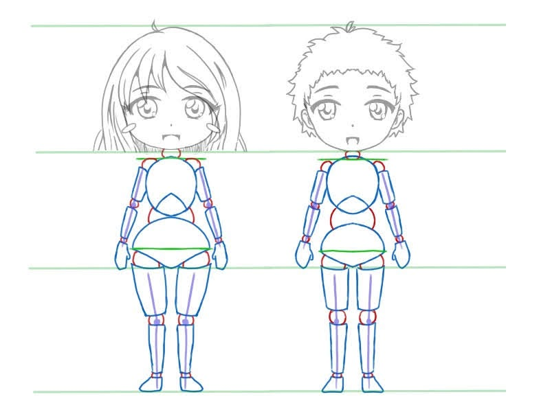 Dessiner le corps des chibis: dessiner les jambes et les bras