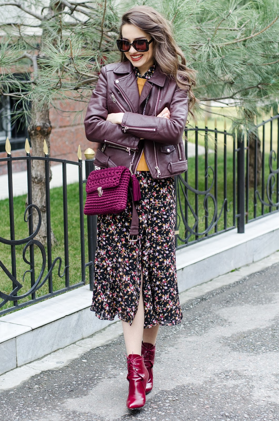 fashion blogger diyorasnotes floral dress leather byker jacket crochet bag 2 - CROCHET BAG AND FLORAL MIDI DRESS