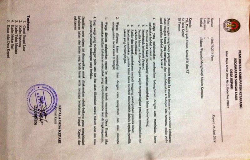 Hadapi Musim Kemarau 2014 Kades Kepari Keluarkan Surat