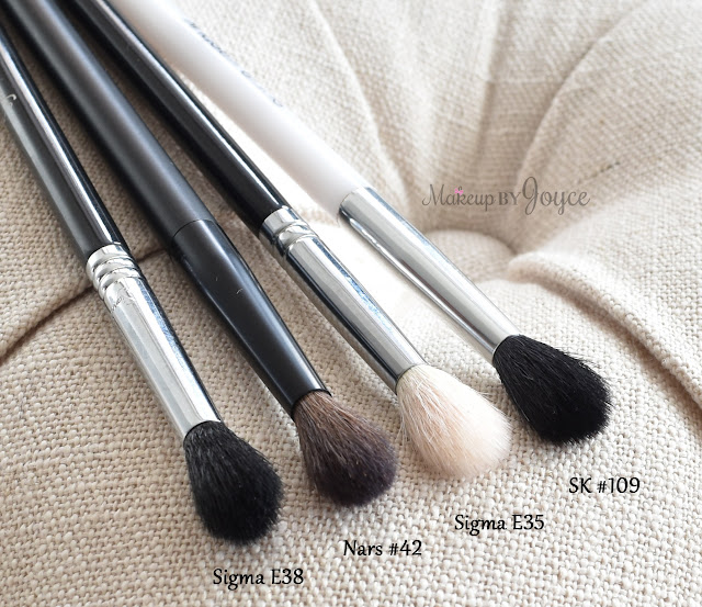 NARS Blending Eyeshadow Brush 42 Sigma E35 Tapered Blending Comparison Dupe
