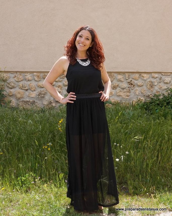 Vestido largo negro semitransparente