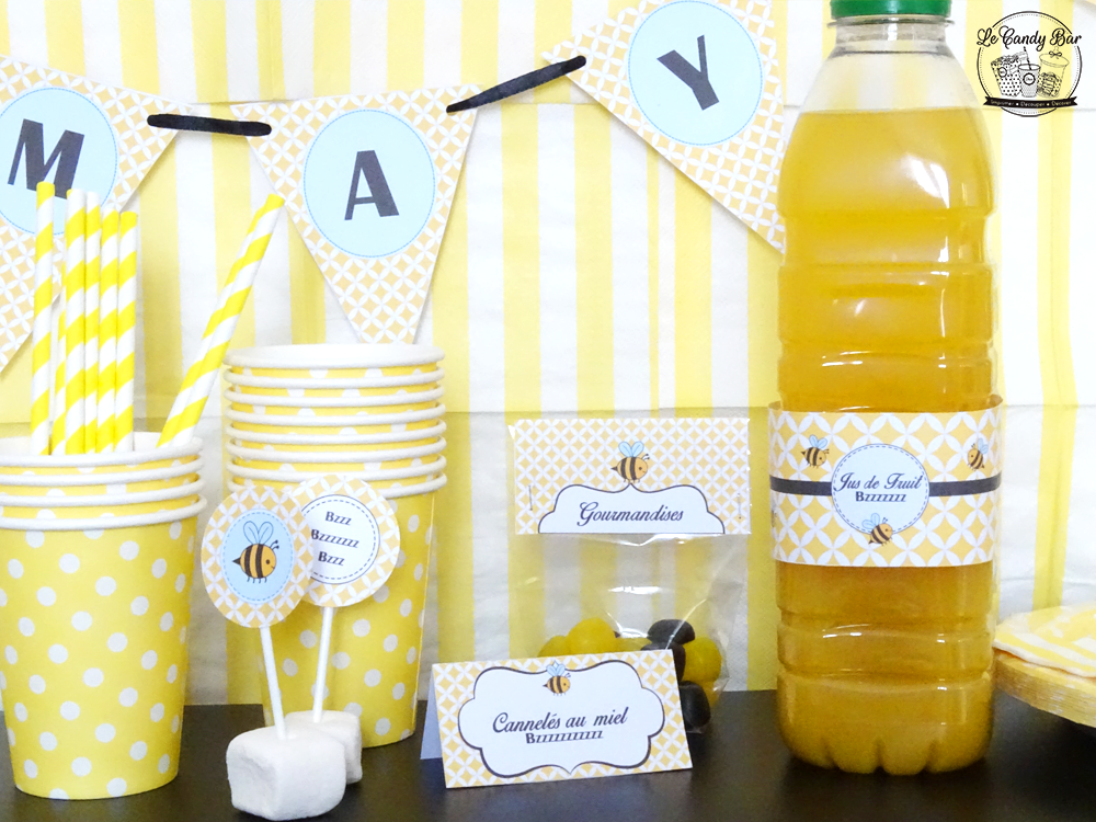 décoration pour table theme abeilles jaune et noir