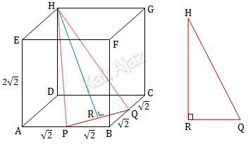Jarak titik H ke garis PQ pada kubus ABCD.EFGH, soal Matematika No. 3 Saintek SBMPTN 2018 Kode Naskah 466