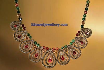 Tanishq Diamond Necklace Sets with Gemstones - Jewellery Designs