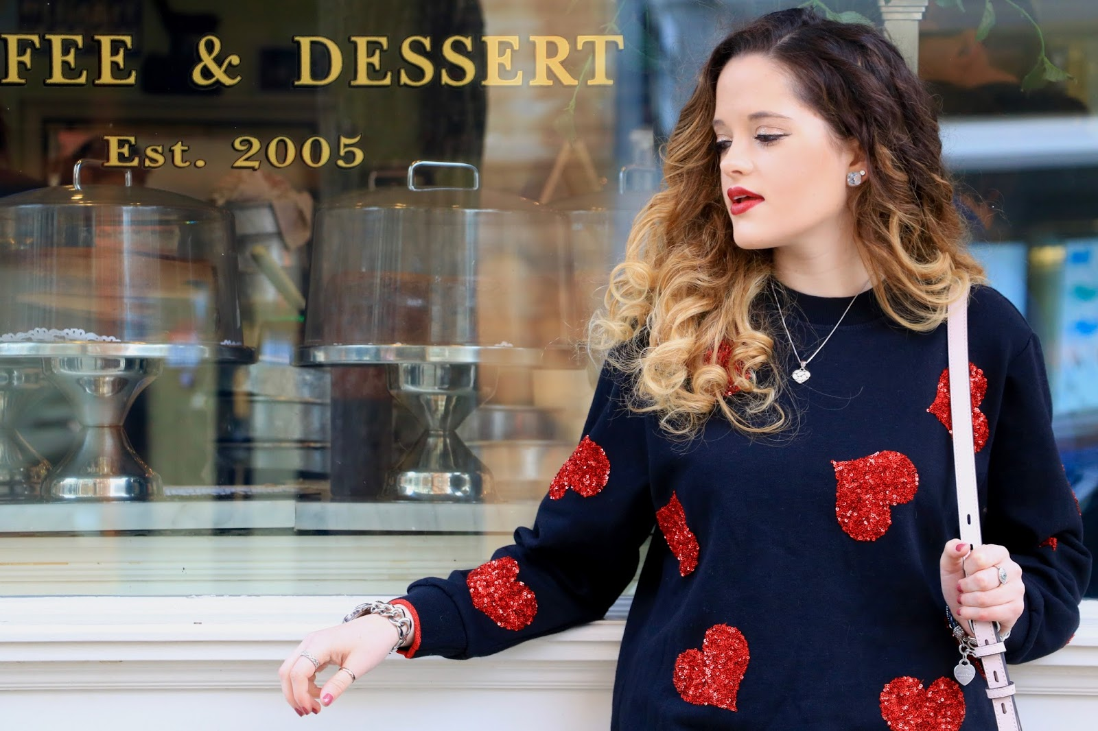 Nyc fashion blogger Kathleen Harper wearing a heart sweater