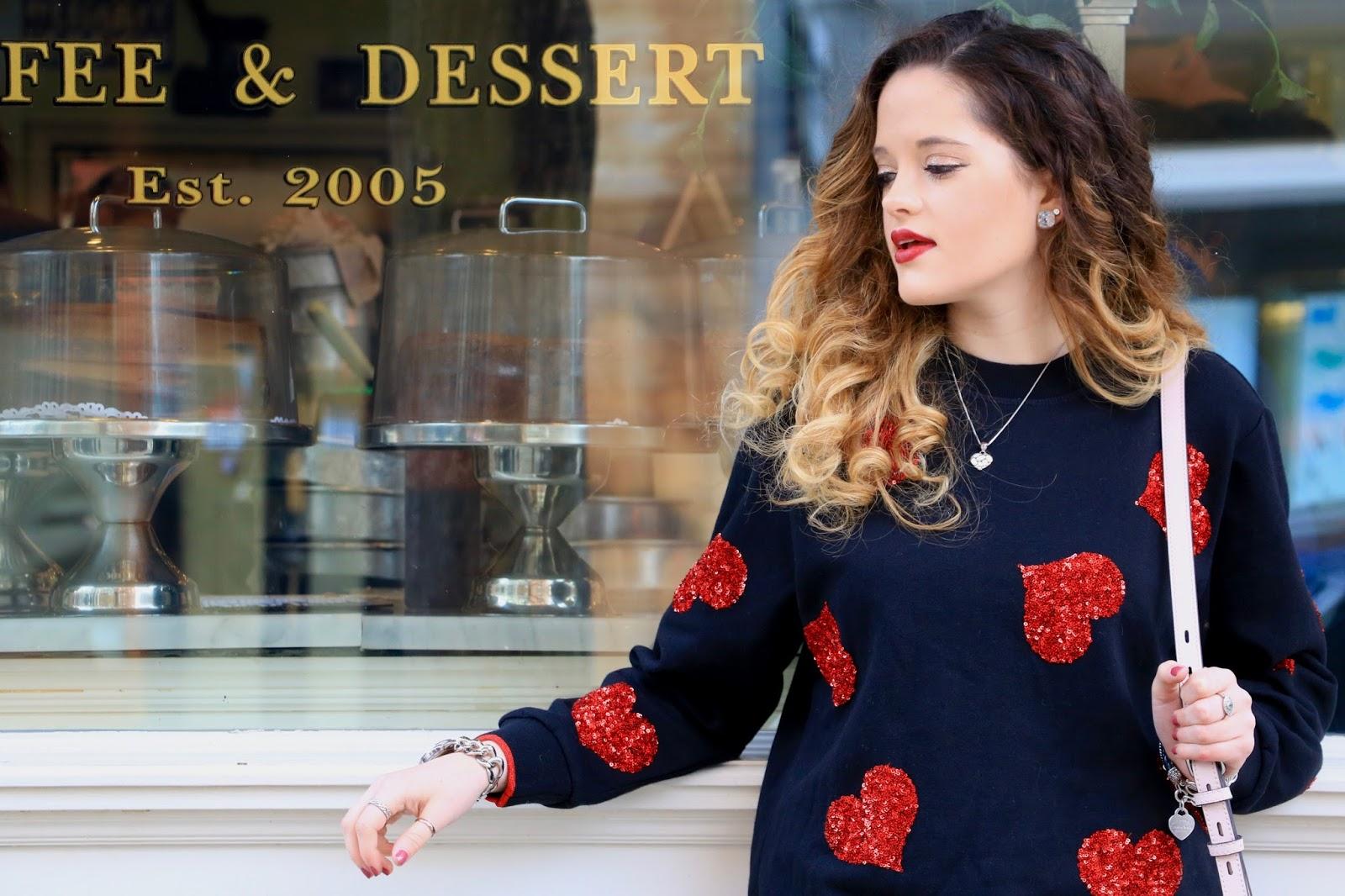 Nyc fashion blogger Kathleen Harper wearing a heart sweater
