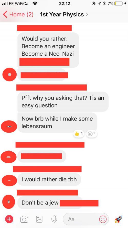 UK - First year antisemitic physics group chat exposed - CFCA