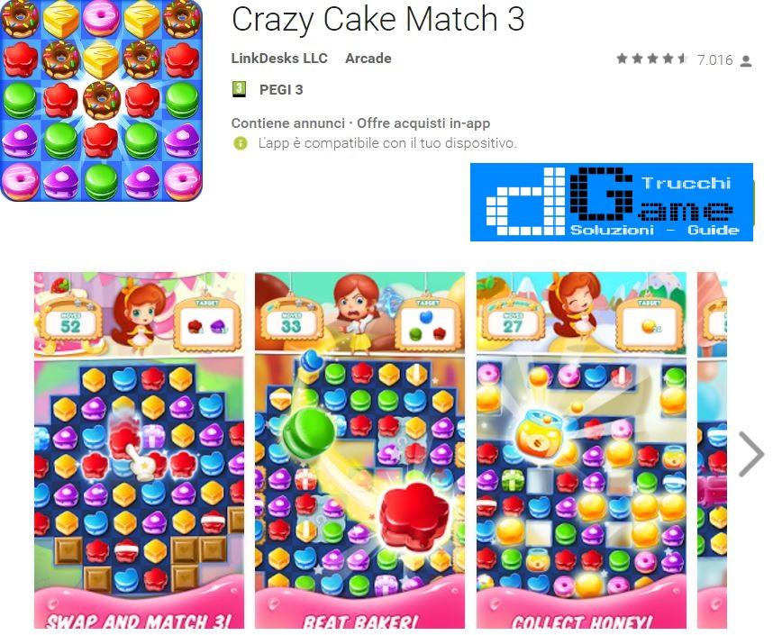 Trucchi Crazy Cake Match 3 Mod Apk Android v1.22.0