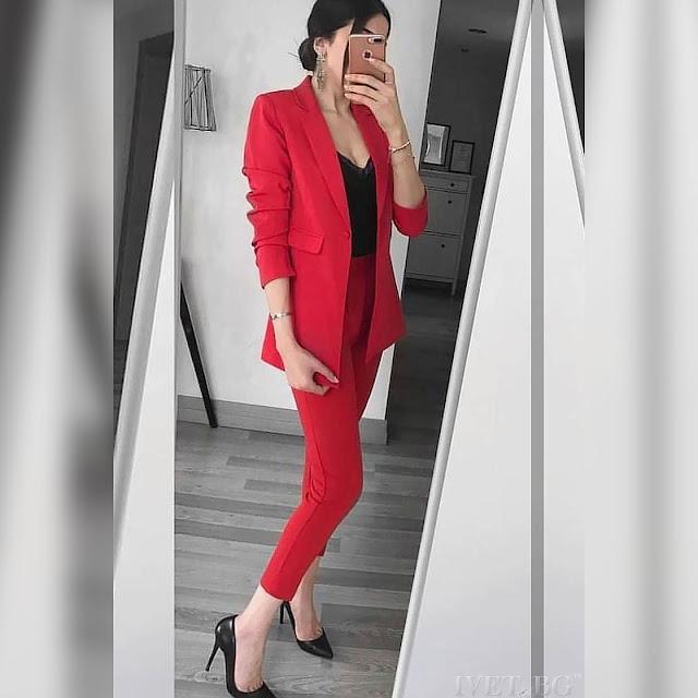 Γυναικείο κόκκινο κοστούμι - σύνολο ORIANA RED
