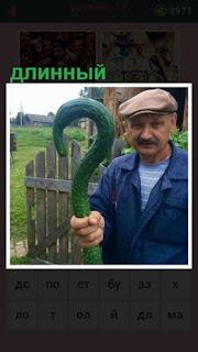 651 слов в руках у мужчины необычный длинный огурец 17 уровень