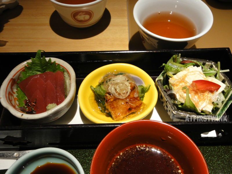 Dinner at Mimiu (美々卯) Shinsaibashi trio of appetizers