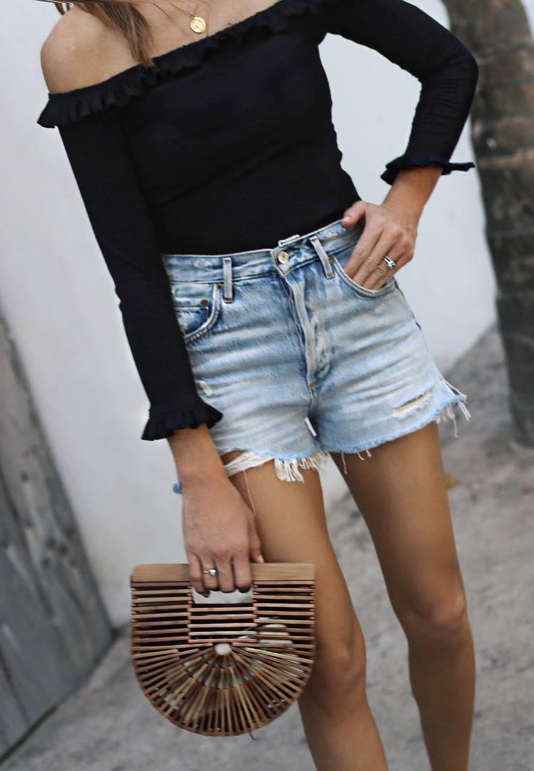 trendy outfit / bag + black off shoulder top + shorts