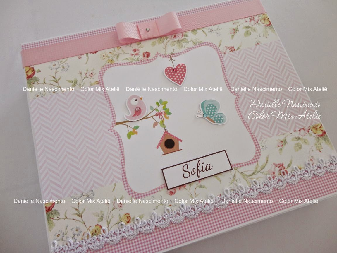 álbum do bebê scrapbook menina casinha passarinho floral rosa