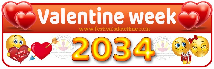 2034 Valentine Week List Calendar, 2034 Valentine Day All Dates & Day