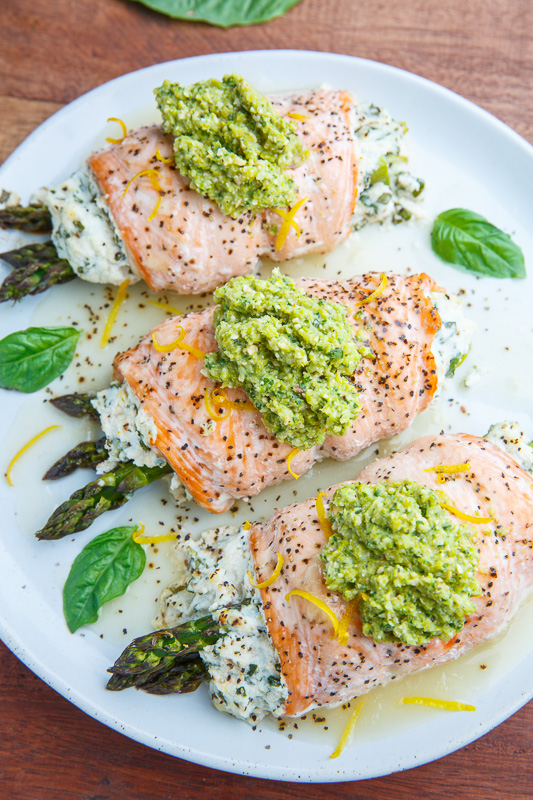 Asparagus and Lemon and Basil Ricotta Stuffed Salmon Rolls with Asparagus Pesto