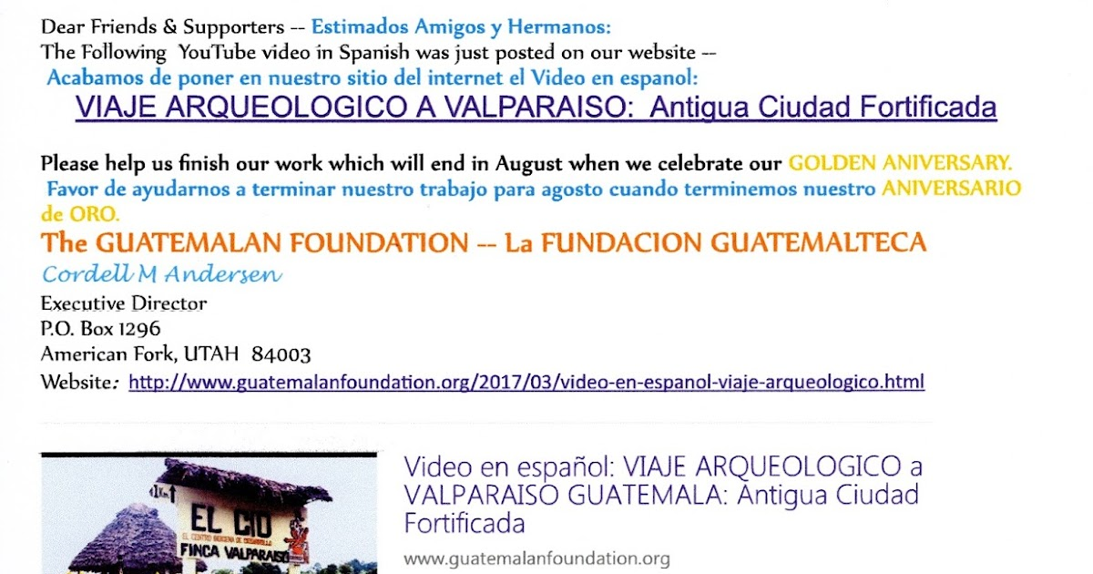 Guatemalan Foundation: Email notificacion de YouTu be Video en ...