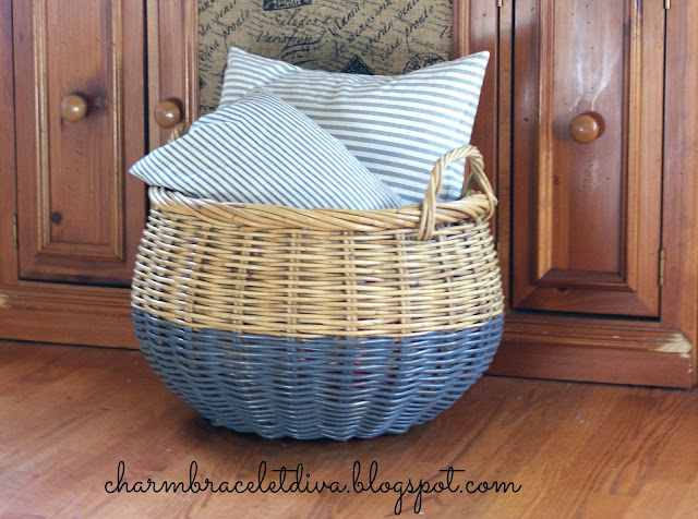 gray painted dipped Pottery Barn storage two handled basket