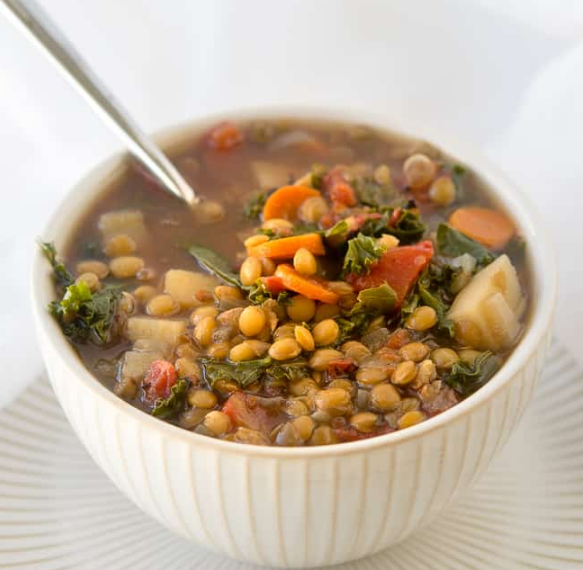 CROCK POT VEGETABLE LENTIL SOUP #vegetable #soup