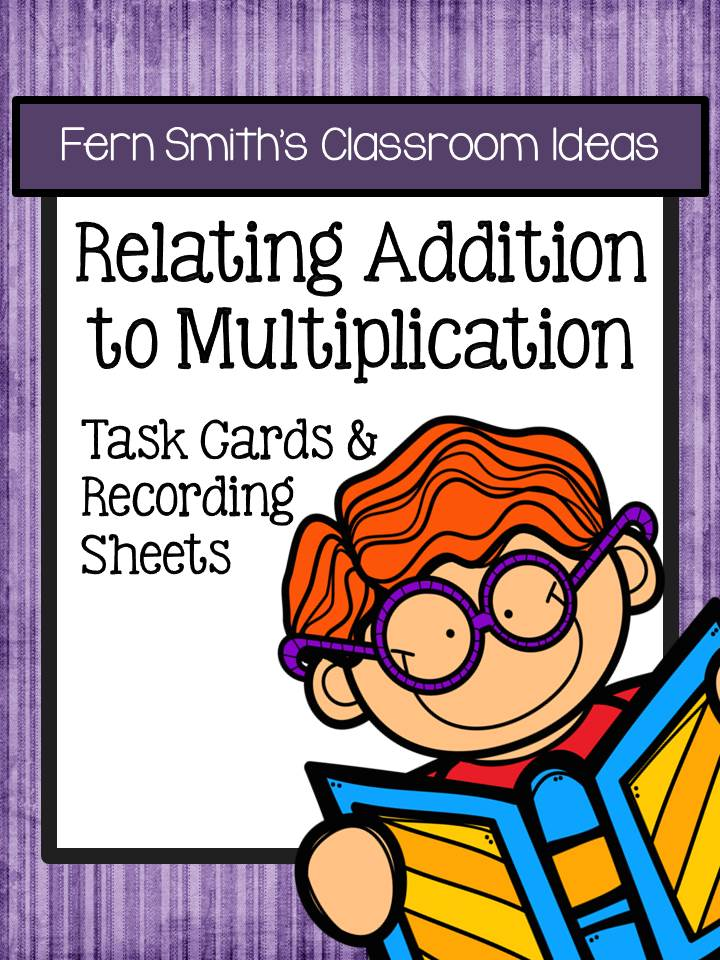 Relate Addition to Multiplication Task Cards and Recording Sheets No Common Core - Cupcake Themed