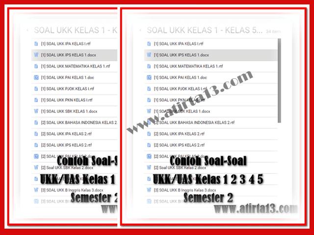 Contoh Soal-Soal UKK/UAS Kelas 1 2 3 4 5 Semester 2 SD