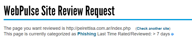Bluecoat's WebPulse Site Review deems this domain to be phishing