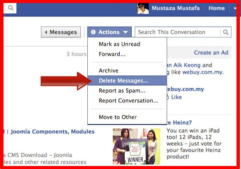 how to delete a message facebook