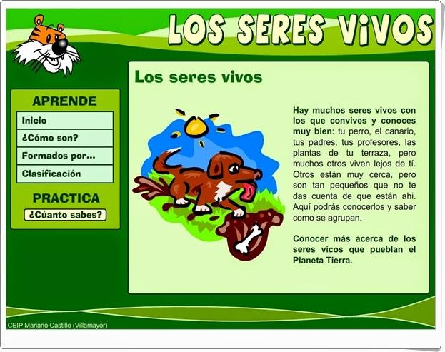 """""""Los seres vivos"""" (Aplicación interactiva de Ciencias Naturales de Primaria)"""