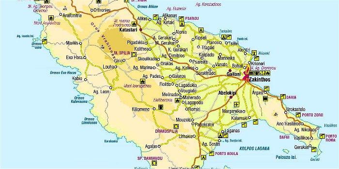 Cartina geografica di Zante (Zacinto) con spiagge e località