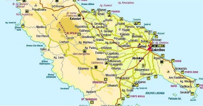Cartina Geografica Isole Greche.Mappa Di Zante