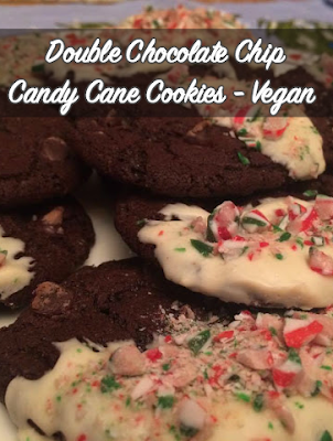 Double Chocolate Chip Candy Cane Cookies ~ Vegan