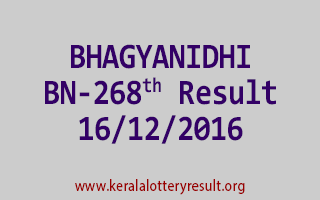 BHAGYANIDHI BN 268 Lottery Results 16-12-2016