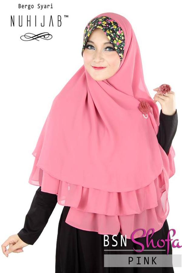 Hijab Bergo Syar'i BSN Shofa Pink Nuhijab