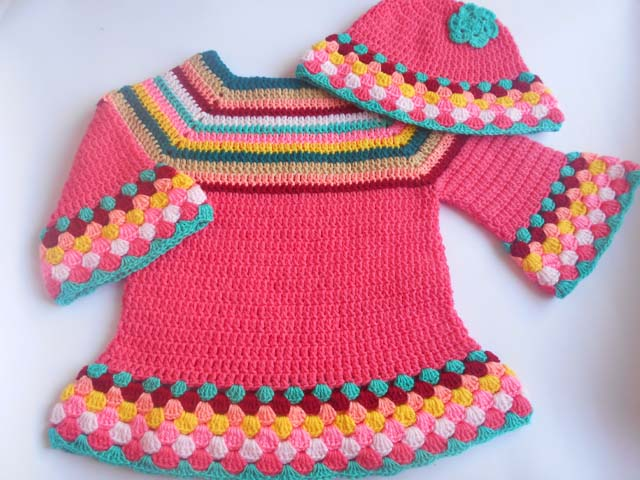 c4dc58c2c6f4a I made the upper part with simple double crochet and the below part of  sweater I used shell stitch with a different colors yarn. I taught a design  ...