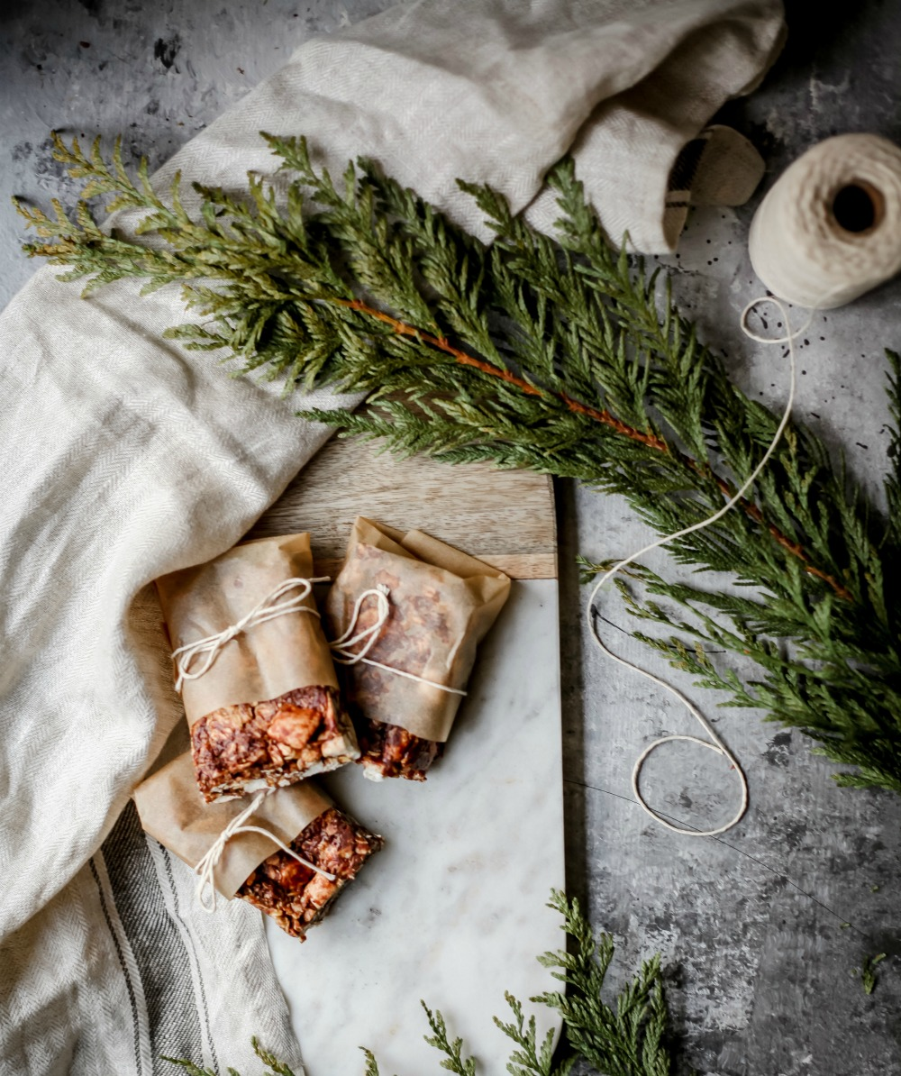 holiday treats to make for friends and neighbors granola bar with pine boughs
