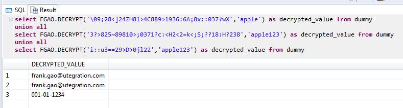 Column Encryption Decryption on HANA