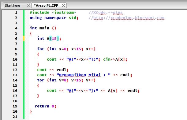 Source Code Program Array dengan Looping