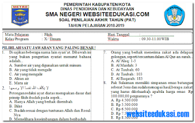 Soal PAT/UKK Fiqih Kelas 10 K13 Tahun 2018/2019