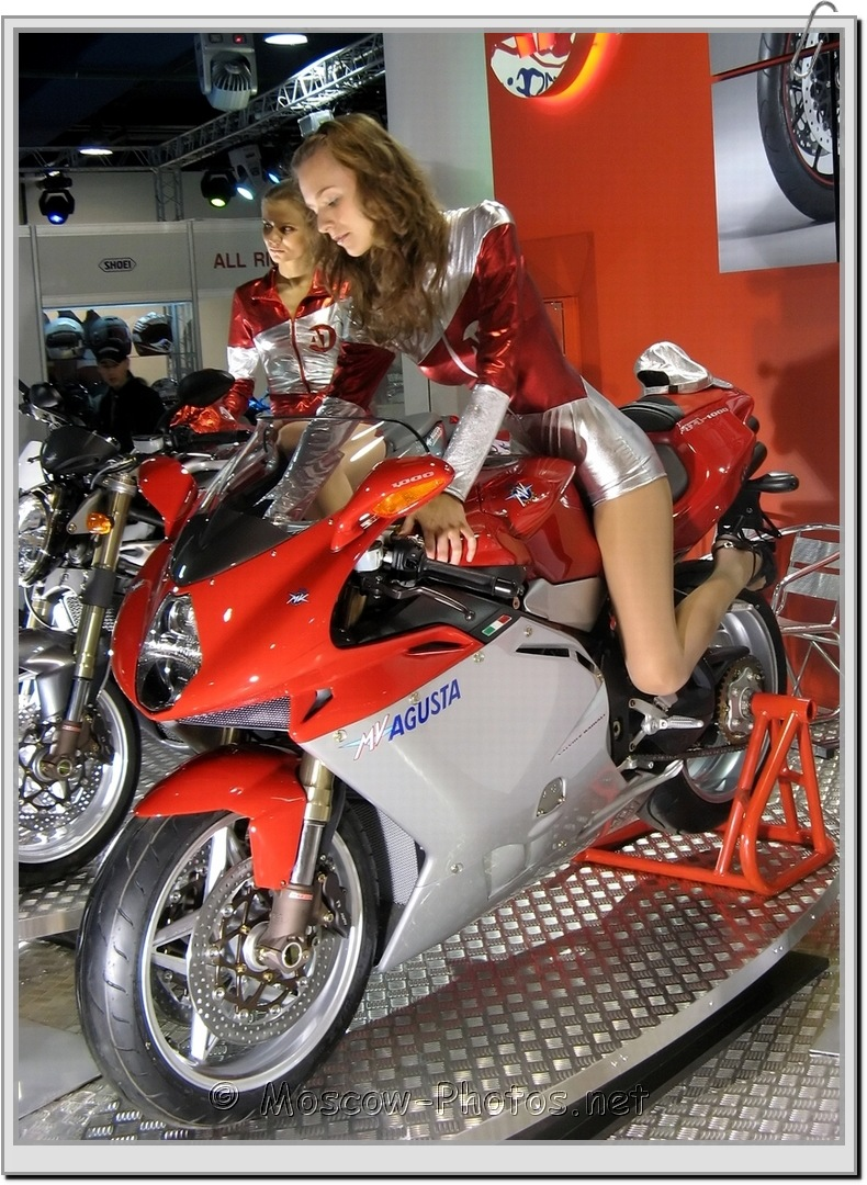 Model in Silver Shorts at Moscow Internationale MOTOBIKE SALON - 2007