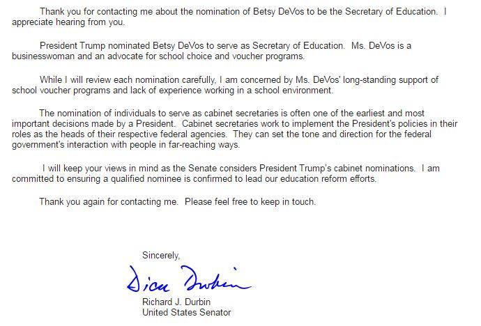 how to call senator to oppose betsy devos