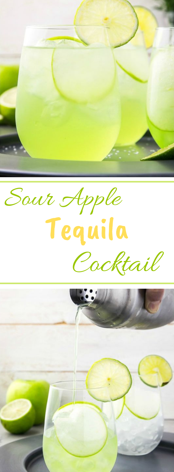 Sour Apple Tequila Cocktail – The Lucky Shamrock #drinks #cocktail