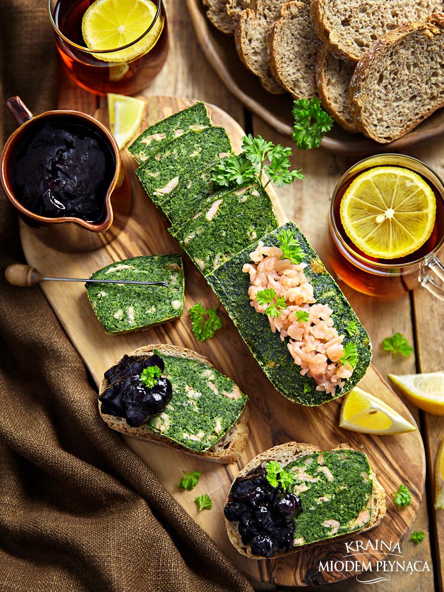 pieczeń ze szpinaku, pasztet ze szpinaku, pieczeń z łososiem, pasztet z łososiem, łosoś ze szpinakiem, konfitura z czarnej porzeczki, konfitura do mięs, konkurs hortex, kraina miodem płynąca