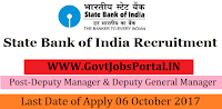State Bank of India Recruitment 2017– 41 Deputy Manager & Deputy General Manager