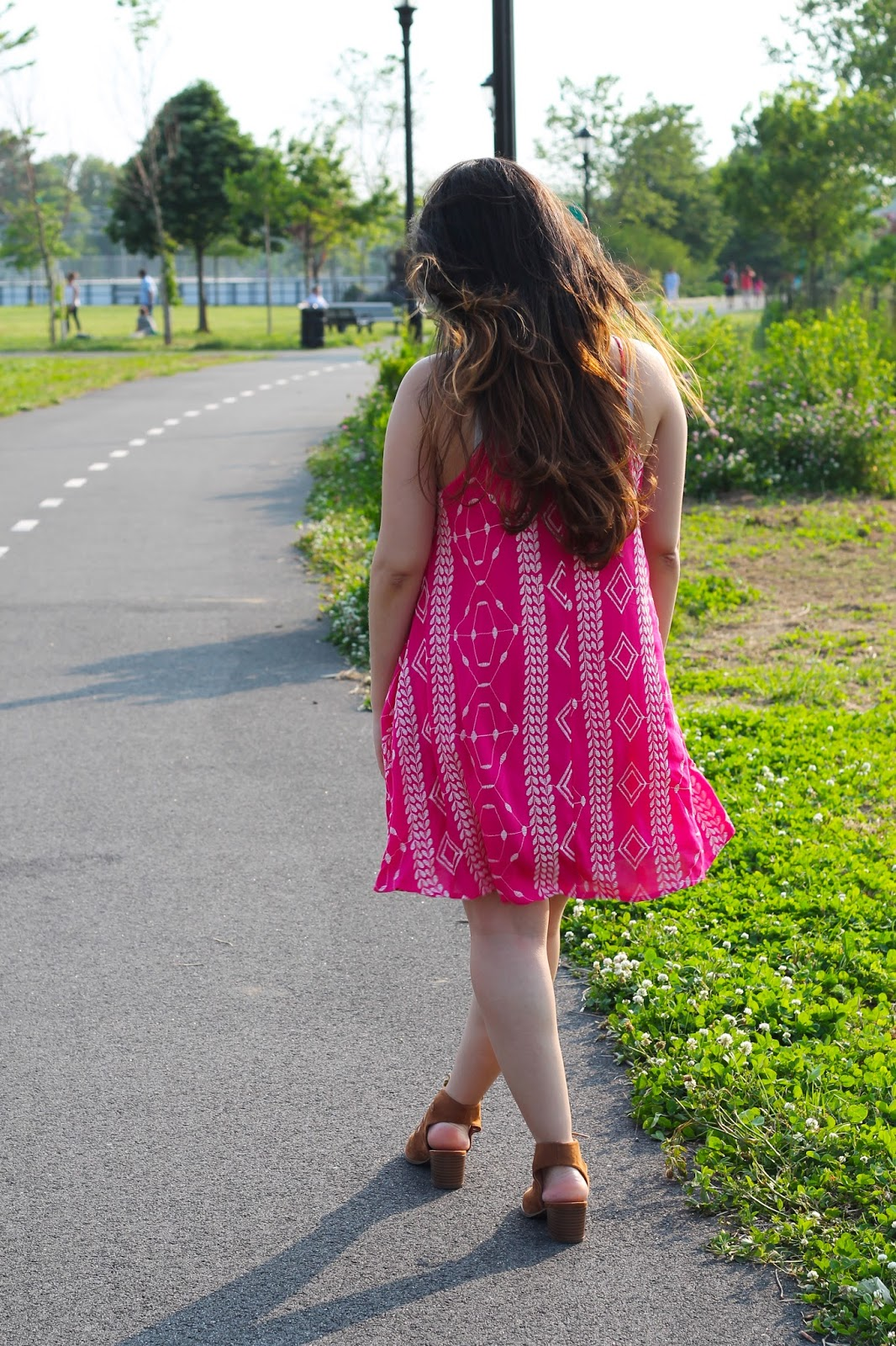 summer, dress, fuchsia, summer dress, fuchsia dress, fashion, style, shopthemint, the mint julep boutique, bright, bauble bar, jcpenney, lace up sandals, new york, blogger, colorful, beautiful, boutique, sandals,