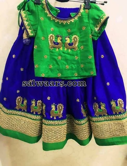 Blue Green Peacock Kids Lehenga