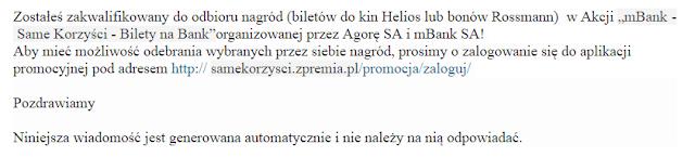 mail informujący o przyznaniu nagrody w promocji mBanku
