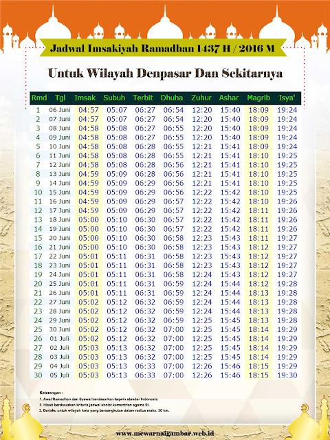 Jadwal Imsakiyah Denpasar 2016 M 1437 H