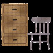 ボロボロの家具のイラスト