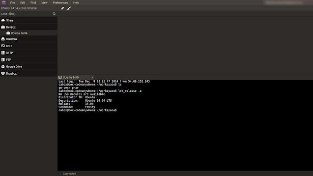 Screenshot of Codeanywhere's IDE