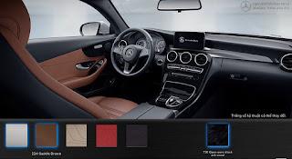 Nội thất Mercedes C300 Coupe 2018 màu Nâu Saddle 224
